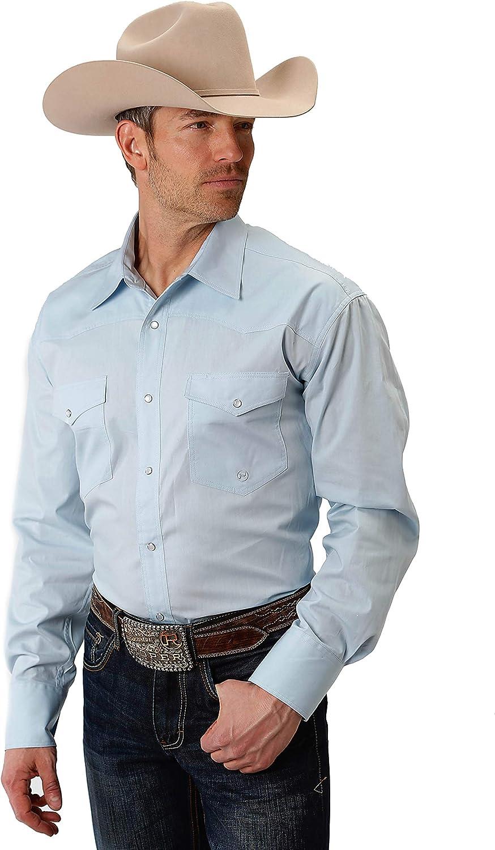 Roper Men's Instock Solid Poplin Long Sleeve Button Shirt