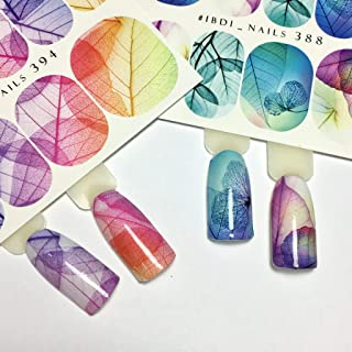 IBDI Colorful leafs nail decals, Sliders for manicure or pedicure, Decal for nails, Slider for manicures and pedicures, Nail art, Creates stunning look