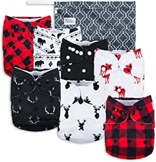 Buffalo Plaid Baby Cloth Pocket Diapers 7 Pack, 7 Bamboo Inserts, 1 Wet Bag by Nora's Nursery