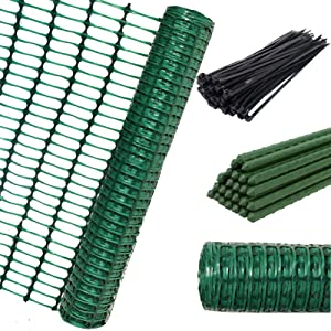 ACTREY Safety Fence and 25 Steel Garden Stakes,Extra Strength Mesh Snow Fencing, Green Plastic Garden Netting & 25,4 Foot Stakes for Temporary Pool, Lawn, Deer, Rabbits, Chicken, Dogs
