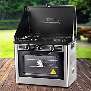 Devanti Portable Gas Stove Oven Camping 2-Burner Ranges Cooktop Outdoor Kitchen Cooker LPG 5300BTU Stainless Steel AGA-app...