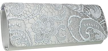 Girly Handbags Frauen Silber Satin Damen Floral Lace Kleine Bridal Partei Abend Clutch Handtasche - Silber
