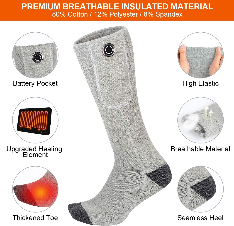 Clheatky Heated Socks for Women and Men USB Rechargeable Batteries Ladies Electric Heating Socks Winter Thermal foot Warmer Temp Adjustable Skiing Motorcycle Fishing Hiking