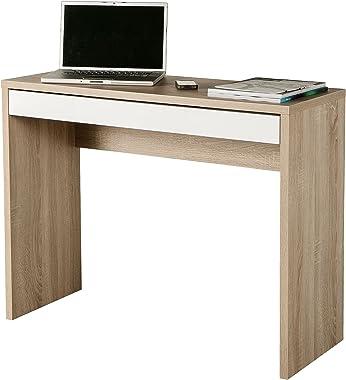AVANTI TRENDSTORE - Casinó - Scrivania con 1 cassetto, Disponibile in 2 Diversi Colori, Dimensioni: Lap 100x80x40 cm (Marrone-Bianco)