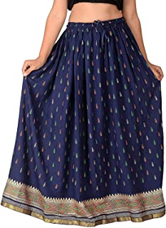 Rangsthali Rayon Gold Printed A LINE,Straight Skirt,Waistband-Elastic (Free Size) (Length`- 38 Inches X Waist up 36 Inches)