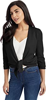 89th + Madison Women's Rayon/Poly Tie Waist Ruched Sleeve Cardigan