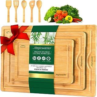 Magicmaster Bamboo Cutting Board, 3 Pcs Wood Cutting Boards for Kitchen, Wood Cutting Board Set with Juice Groove, Choppin...