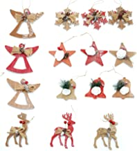 Gifts 4 All Occasions Limited SHATCHI-1177 SHATCHI 15pcs Crafted Christmas Tree Ornaments Xmas Handing Home Decor, Multi