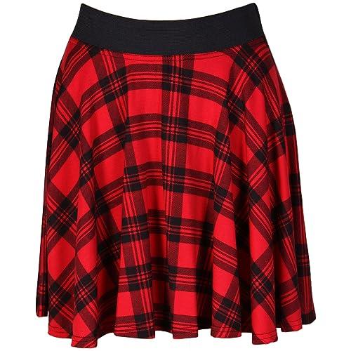 87bd5c6ba Womens Check Tartan Printed Ladies Contrast Elastic Waistband Stretch Short  Mini Flared Skater Skirt