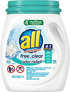 All Mighty Pacs Laundry Detergent Free Clear Odor Relief, Tub, 56 Count