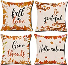 YCOLL Fall Pillow Covers 18x18 Set of 4 Modern Sofa Throw Pillow Cover, Decorative Outdoor Linen Fabric Pillow Case for Co...