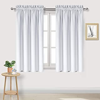 DWCN Blackout Curtains Room Darkening Thermal Insulated Bedroom Curtains Window Treatments, 42 x 45 inches Long, Set of 2 Greyish White Rod Pocket Drapes
