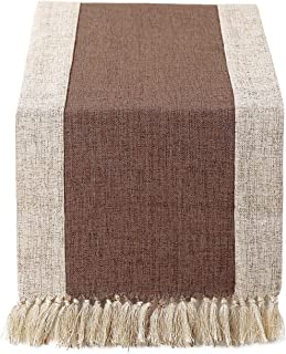 15 x 72 inch Rustic Woven Table Runner with Handmade Fringe, Buffalo Checkered Burlap Dining Table Runners for Family Dinner, Farmhouse Decorations - Coffee