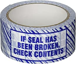 """3M 371 Printed White Carton Sealing Tape - 2 in. x 55 yds. Adhesive Tape Roll with Blue """"Check Contents if Seal has Been Broken"""" Lettering. Sealants and Adhesives"""