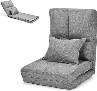 COSTWAY Chaise Longue Réglable Fauteuil Relax de Sol Matelas Pliant, Canapé Paresseux avec Pouf Confortable et Dossier Aju...