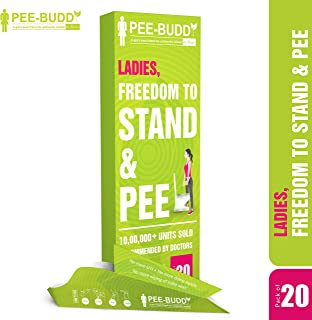 PeeBuddy 20 Funnels Portable Female Urination Device | Recyclable Disposable Urinal Funnel | Travel, Camping, Hiking and Outdoor Activities | Discreet and Compact Stand and Pee Funnel for Women, Girls
