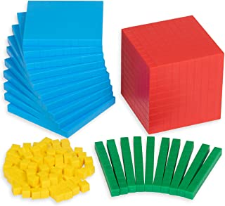 Edx Education Four Color Plastic Base Ten Set - in Home Learning Manipulative for Early Math - Set of 121 - Teach Kids Num...