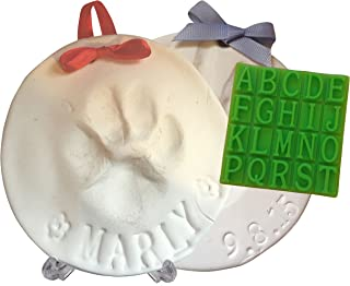 Ultimate Pawprint Keepsake Kit (Makes 2) - Paw Print Xmas Ornament or Memorial with Bonus Personalization Tool & Display Stands! For Dogs, Cats & Pets. Non-toxic. Air-Dries Soft, Light & Uncrackable.