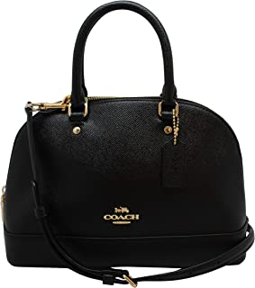 Womens Mini Sierra Satchel Handbag, Crossgrain Leather, Detachable Crossbody Strap (Mini, Black)