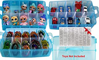 HOME4 No BPA Storage Organizer Carrying Case Box 30 Adjustable Compartments Compatible with Small Dolls LOL Toys Bead Beyblade Hot Wheels Tool Craft Sewing Jewelry Hair Accessories (Blue)