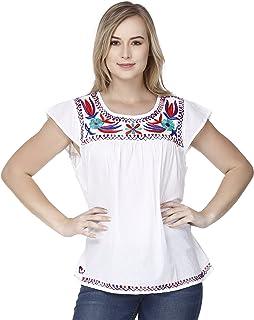 8bf42216ca43 Amazon.es: Bordado Para Flores - Blanco / Blusas y camisas ...