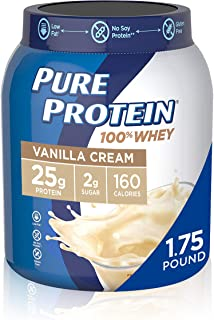Whey Protein Powder by Pure Protein, Gluten Free, Vanilla Cream, 1.75lbs