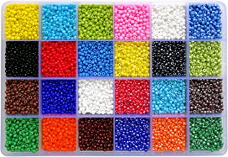 BALABEAD 14400pcs in Storage Box 8/0 Seed Beads Loose Spacer Craft Beads for Jewelry Making 3mm Glass Seed Beads with Hole 1.0mm (600pcs/Color, 24 Colors)