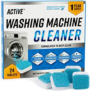 Washing Machine Cleaner Descaler 24 Pack - Deep Cleaning Tablets For HE Front Loader & Top Load Washer, Clean Inside Drum ...
