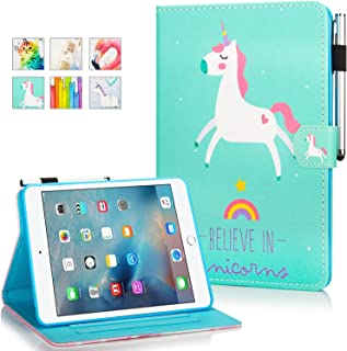 iPad Mini Case, Mini 2 3 4 Mini 5 Case Cover, MonsDirect Leather Smart Kickstand Case Flip Wallet Protective Case Compatible with Apple iPad Mini 1 2 3 4 Mini 5 2019, Heart Pony