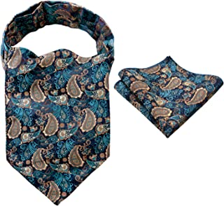 Alizeal Men's Floral Jacquard Woven Self Cravat Tie Ascot and Pocket Square Set