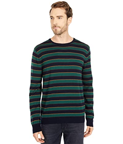 J.Crew Merino Irving Stripe Crew (Stripe Indigo Sea) Men