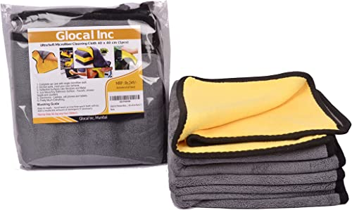 Glocal Inc Microfiber Towel Set of 2 for Cleaning Cars Bike Electronic Items 600 GSM 40 x 40 cm Pack of 2