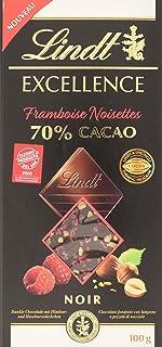Lindt Excellence – Tableta de chocolate negro 70% cacao con frambuesa y avellanas, 100 g