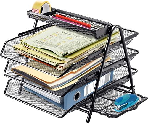 2021 Halter discount 3 Tier Mesh Desktop Organizer with Sliding Paper Trays, Workspace online sale Organizers with Letter Tray for Desk Accessories, Office Supplies and File Storage, Black online sale