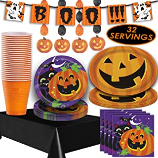 Halloween Tableware and Decorations - 32 Guest - Dinner Plates, Party Cups, Napkins, Tablecloths, Serving Trays, Pumpkin Hanging Swirls, 4 Foot
