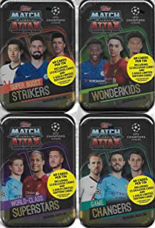 2019 2020 Topps 4 Tin Gift Lot of UEFA Champions League Match Attax Card Game MEGA Collector Tins with 240 Cards including 4 Limited Edition Gold Cards and 60 Exclusive Inserts
