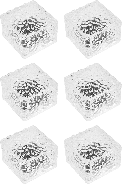Reasin 6 Pack Solar Ice Cube Lights IP-65 Waterproof Solar Brick Light Outdoor 4-LED Brick Light Chritmas Brick Decor in Garden Patio Yard Lawn Pool (2.75in2.75in(Warm White)
