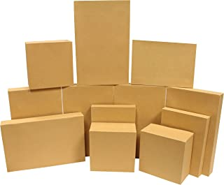 12 Pieces Brown Kraft Cardboard Boxes Gift Wrap for Christmas Holiday, Festive Xmas Wrapping Shirt and Lingerie Cupcake DI...