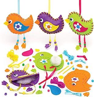 Baker Ross Aw305 Kits de Costura para Crear Pájaros Decorativos (Paquete de 3) Manualidades de Primavera para Niños
