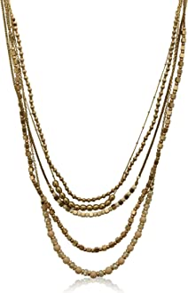 FB Jewels Solid Two Layer Necklace And Earring Set Metal Fringe With Hammered
