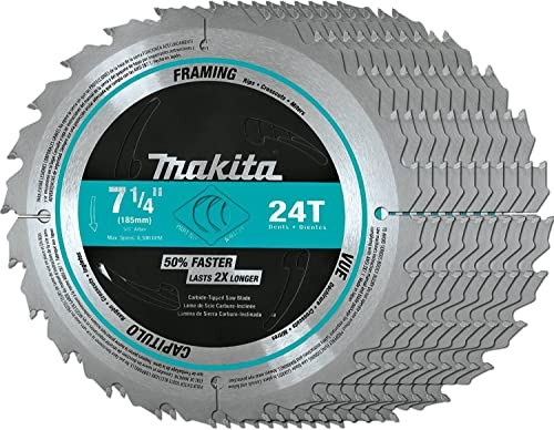 """2021 Makita A-94839-10 new arrival 7-1/4"""" online sale 24T Carbide-Tipped Circular Saw Blade, Framing, 10/Pk sale"""