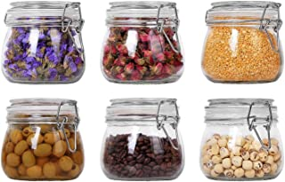 ComSaf Airtight Glass Canister Set of 6 with Lids 17oz Food Storage Jar Round - Storage Container with Clear Preserving Seal Wire Clip Fastening for Kitchen Canning Cereal,Pasta,Sugar,Beans,Spice