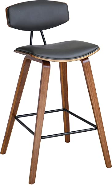 Armen Living LCFOBAWAGR30 Mid Century Faux Leather Kitchen Barstool 30 Bar Height Gray