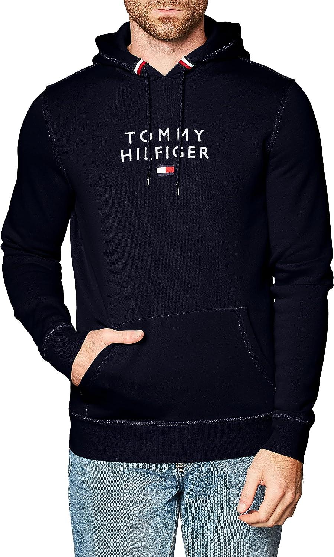 Tommy Hilfiger de los Hombres Sudadera con Capucha Bandera apilada, Azul