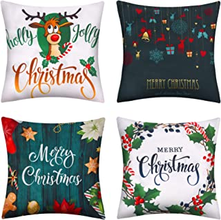 4Pcs Set de Noël Les taies d/'oreiller cas Chaise Maison Canapé Throw Décorations de Noël UK