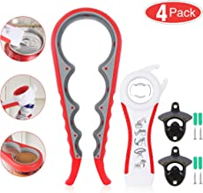 Jar Opener, 5 in 1 Multi Function Can Opener Bottle Opener with 2 pcs Wall Mount Bottle Opener Kit with Silicone Handle Ea...