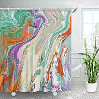 LIVILAN Abstract Oil Painting Shower Curtain, Swirls Ripples Ocean Granite Texture Fabric Bathroom Curtains Set with Hooks Colorful Art Bathroom Decor 72x72 Inches Machine Washable