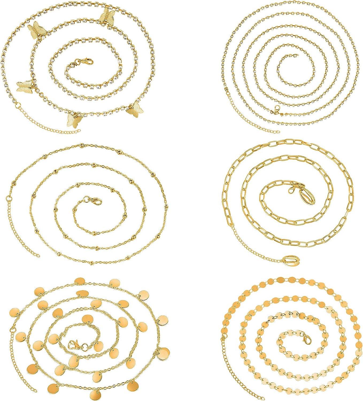 6 Pieces Beach Bikini Belly Chain Waist Chain Adjustable Waist Beads Chain Body Jewelry for Women Girls