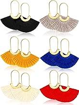6 Pairs Bohemian Tassel Earrings Thread Fringe Earrings Retro Cotton Hoop Earrings Fan Shaped Earring for Women Girls