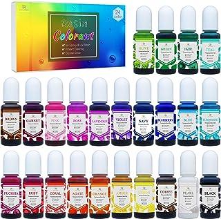Colorante Resina Epoxi UV de 24 Colores - Cristal Transparente Pigmento de Resina Epoxi para Colorear Resina UV, Fabricación de Joyas - Colorante Concentrado de Resina UV para Pintura - 10 ml Cada Uno
